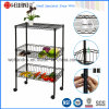 Multi-Functional 3 Layer Black Metal Kitchen Utensil / Vegetable Rack