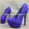 Designer Leather High Heels, Classical Ladies Shoes with Crystal Dropship Paypal