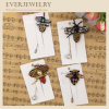 Handmade Rhinestone Insect Brooch Pin with Fablic