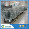 Folable Collapsible Metal Wire Mesh Box Storage Cage with Truckle