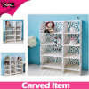 White DIY Pieced Plastic Stacking Storage Shelf with Carved Pattern