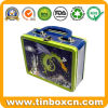 Metal Gift Box with Handle Tin Container, Lunch Tins