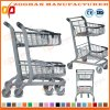 Two Basket Metal Chrome Plated Supermarket Handling Shopping Trolley (Zht201)