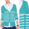 Lady's Fashional Knit Apparel Strip Cardigan Sweater (SW-13018)