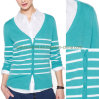 Lady's Fashional Knit Apparel Strip Cardigan Sweater (SW-13018)