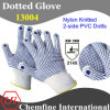 13G White Nylon Knitted Glove with 2-Side Blue PVC Dots/ En388: 214X