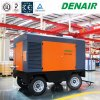 Shanghai 200 Cfm Two Stage Sand Blast Portable Screw Air Compressor on Wheels Tire