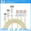 1m Golden-Silver Nylon Braided Charging Cable for iPhone