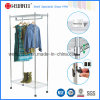 Adjustable Shelf Chrome Home Garment Rack with Nylon Wheel
