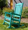 Trex Outdoor Garden Furniture Jade Blue Polywood Platform Slats Back Rocking Chair