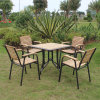 Patio Gaden Furiture Aluminum Teak Colour Plastic Wood Table Arm Chair (J816)