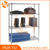 Garage Storing Shelf in Chrome Finish with Four Layer Shelves