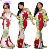 Women′s off The Shoulder Mermaid Flower Floral Hawaiian Maxi Dress White Large