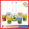 7PC Printed Glass Drink Dispenser Glass Tumbler