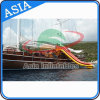 Commercial Giant Inflatable Yacht Floating Water Slide for Adult with Red and Yellow Color