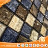 Checkerboard Black and White, Golden Leaf Glass Mosaic Tile (G848017)