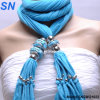 2014 Fashion Sky Blue Fringed Pendant /Jewelry Lady Scarf