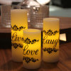 Live/Love/Laugh Stickers Flameless LED Candle for Wedding and Gift