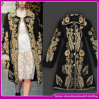 2014 New Fashion Gold Embroidery Wool Long Coat