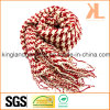 Acrylic Winter Warm Red & White Swallow Gird/Houndstooth Woven Scarf with Fringe