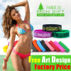 Low Price Black/Green Custom Silicone Wristband Keychain Logo