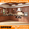Oppein India Style L Shape Brown PVC Wood Modular Kitchen Cabinet (OP15-PP06)