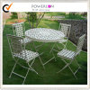 White Folding Round Metal Dining Chairs and Tables (PL08-3591, 3594)