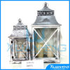 Classic Wood Lantern with Stainless Steel Top for Home Decoration