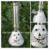 12inch Beaker Glass Smoking with Smiling Mosaic Face