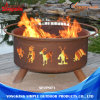 Brown Round Outdoor Metal Fire Pit Steel with 3-Feet Stand