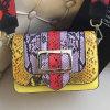 New Style Lady Handbags Colorful Snake Leather Hand Bags Shoulder Bag with Colorful Shoulder Strap Emg5097