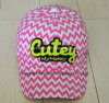 Printed Striped Baseball Cap with Patch (HY16041420)