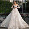 Champagne Full Sleeves Bridal Wedding Dress with Flowers Decoration (W725)