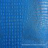 Blue Silver Faux Crocodile Leather