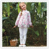 Pink Flower Pattern Casual Kids Tops Clothing Set