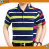 Men Yarn Dye Stripe Polo Shirts Cotton Pique Polo T-Shirts