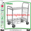 2 Tiers Metal Folding Mobile Food Cart