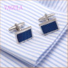 VAGULA Fashion Rhodium Plated Copper Blue Painting Round Cufflink