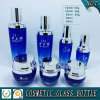 blue Colored Cosmetic Glass Bottles and Cosmetic Glass Jars