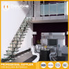 Customized Straight Staircase Wood Stairs Design with Glass Railing