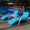 Outdoor PE Rattan Umbrella Leisure Hotel Garden Swimming Pool Beach Loungers