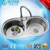 201stainess Steel 304 Stainless Steel Machine Make Kitchen Steel Sink (BS-8005)