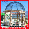 Stone Marble Garden Gazebo with Casting Iron Top for Garden