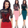 Fashion Lady Lace Stitching Collar Sexy Pencil Skirt MID-Sleeve Dress