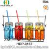 Multicolor Single Wall Plastic Fruit Mason Jar with Straw (HDP-0167)
