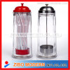 Clear Glass Body with Stainless Steel Cap Straw Dispenser