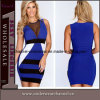 Blue Contrast Fashion Bandage Mini Summer Dresses (TBLSN147)
