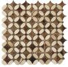 Crema Marfil Mix Dark Emperador Flower Mosaic Tile