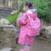 Child Fashion Nylon Polyester Rain Coat with School Bag Cover
