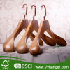 Lh957 Ash Wood Hanger with Flat Head, Wide Shoulder&Rose Golden Square Plated Hook